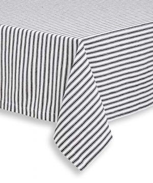 Cackleberry Home Black And White Ticking Stripe Woven Cotton Fabric Tablecloth 54 Square 0 300x360