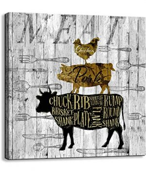 Canvas Wall Art For Kitchen Restaurant Wall Decoration Animal Theme Wall Decor Chicken Pig Cow Canvas Picture Modern Prints Artwork Ready To Hang For Rustic Country Farm Home Decor Size 14x14 A Piece 0 300x360