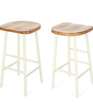 Christopher Knight Home Jean Bar Stools Pine Veneer Iron Frame Naturally Stained Seats With White Base Set Of 2 0 300x360