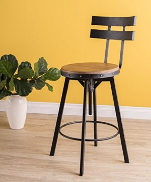 Christopher Knight Home Jutte Firwood Smooth Back Bar Stool Black Brush Silver 0 300x360