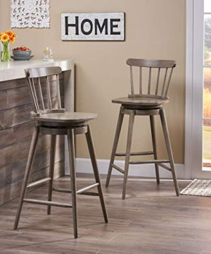 Christopher Knight Home Mia Farmhouse Spindle Back 30 Rubberwood Swivel Barstools Set Of 2 Aged Gray 0 0 300x360