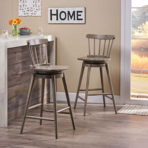 Christopher Knight Home Mia Farmhouse Spindle Back 30 Rubberwood Swivel Barstools Set Of 2 Aged Gray 0 0