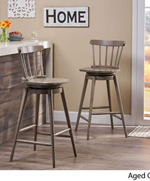 Christopher Knight Home Mia Farmhouse Spindle Back 30 Rubberwood Swivel Barstools Set Of 2 Aged Gray 0 1 300x360
