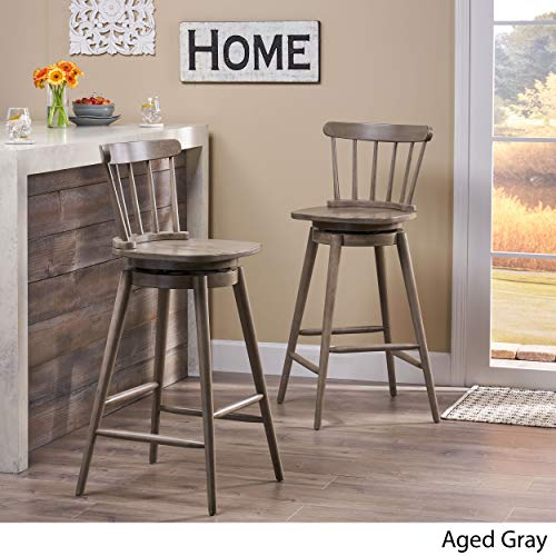 Christopher Knight Home Mia Farmhouse Spindle Back 30 Rubberwood Swivel Barstools Set Of 2 Aged Gray 0 1
