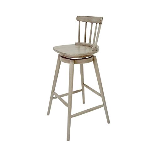 Christopher Knight Home Mia Farmhouse Spindle Back 30 Rubberwood Swivel Barstools Set Of 2 Aged Gray 0 2