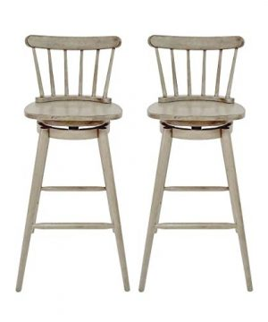 Christopher Knight Home Mia Farmhouse Spindle Back 30 Rubberwood Swivel Barstools Set Of 2 Aged Gray 0 300x360