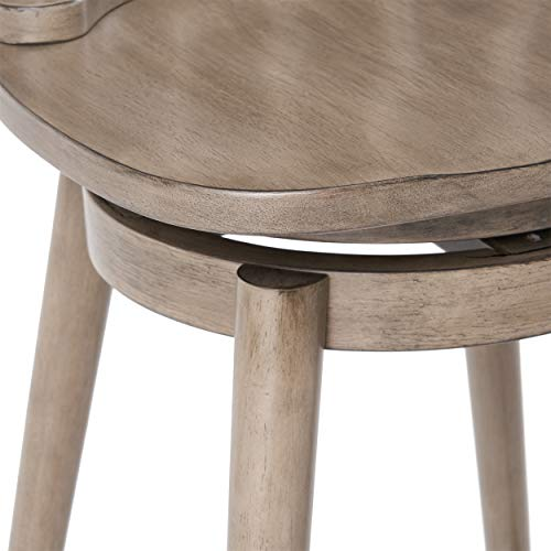 Christopher Knight Home Mia Farmhouse Spindle Back 30 Rubberwood Swivel Barstools Set Of 2 Aged Gray 0 4