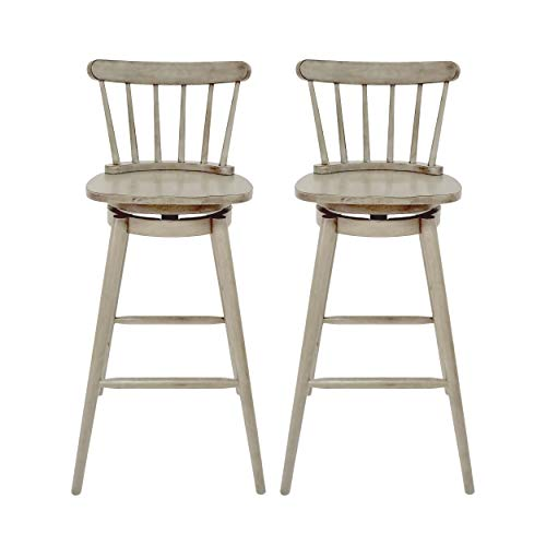 Christopher Knight Home Mia Farmhouse Spindle Back 30 Rubberwood Swivel Barstools Set Of 2 Aged Gray 0