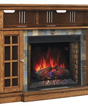 ClassicFlame 28MM6307 O107 Lakeland TV Stand For TVs Up To 65 Premium Oak Electric Fireplace Insert Sold Separately 0 300x360