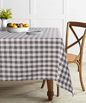 ColorBird Buffalo Plaid Tablecloth Cotton Linen Checkered Tablecloth For Home Kitchen Farmhouse Dining Party Picnic Indoor Outdoor Use RectangleOblong 55 X 70 Inch Gray 0 300x360