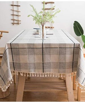 ColorBird Embroidery Checkered Tassel Tablecloth Heavy Weight Cotton Linen Plaid Dust Proof Table Cover For Kitchen Dinning Tabletop Decoration Square 55 X 55 Inch GrayWhite 0 300x360