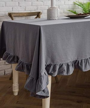 ColorBird French Vintage Ruffle Trim Tablecloth Washable Cotton Linen Table Cover For Kitchen Farmhouse Rustic Wedding Banquet Baby Shower Tabletop Use RectangleOblong 60 X 84 Inch Gray 0 300x360