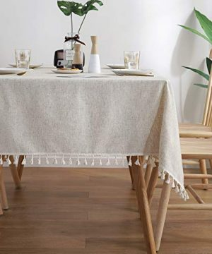 ColorBird Solid Color Tassel Tablecloth Cotton Linen Dust Proof Shrink Proof Table Cover For Kitchen Dining Farmhouse Tabletop Decoration RectangleOblong 55 X 70 Inch Linen 0 300x360