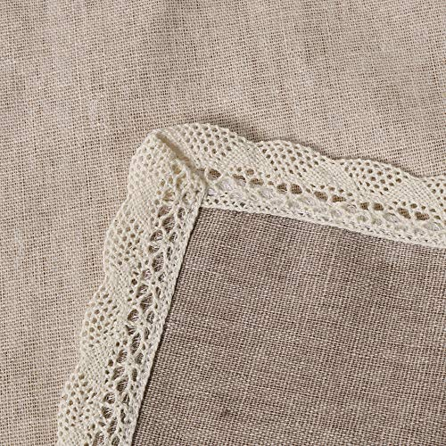 ColorBird Solid Cotton Linen Tablecloth Water Resistant Macrame Lace Table Cover For Kitchen Dinning Tabletop Decoration RectangleOblong 55 102 Linen 0 0