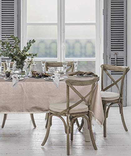 ColorBird Solid Cotton Linen Tablecloth Water Resistant Macrame Lace Table Cover For Kitchen Dinning Tabletop Decoration RectangleOblong 55 102 Linen 0 3