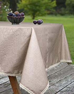 ColorBird Solid Cotton Linen Tablecloth Water Resistant Macrame Lace Table Cover For Kitchen Dinning Tabletop Decoration RectangleOblong 55 102 Linen 0 4 282x360