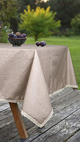 ColorBird Solid Cotton Linen Tablecloth Water Resistant Macrame Lace Table Cover For Kitchen Dinning Tabletop Decoration RectangleOblong 55 102 Linen 0 4