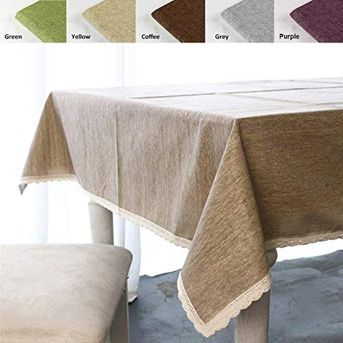 ColorBird Solid Cotton Linen Tablecloth Water Resistant Macrame Lace Table Cover For Kitchen Dinning Tabletop Decoration RectangleOblong 55 102 Linen 0