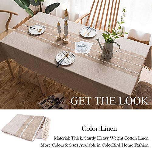 ColorBird Stitching Tassel Tablecloth Heavy Weight Cotton Linen Fabric Dust Proof Table Cover For Kitchen Dinning Tabletop Decoration RectangleOblong 55 X 86 Inch Linen 0 2