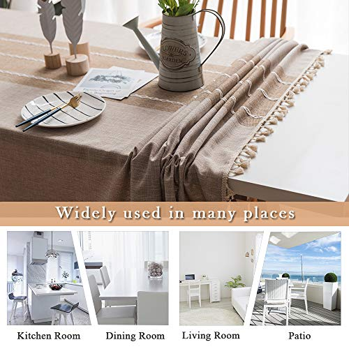 ColorBird Stitching Tassel Tablecloth Heavy Weight Cotton Linen Fabric Dust Proof Table Cover For Kitchen Dinning Tabletop Decoration RectangleOblong 55 X 86 Inch Linen 0 3
