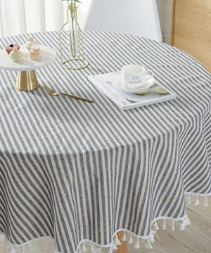 ColorBird Stripe Tassel Tablecloth Cotton Linen Dust Proof Table Cover For Kitchen Dinning Tabletop Decoration Round 60 Inch Blue 0 300x360