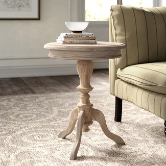 Corsair Solid Wood Pedestal End Table Accent Table