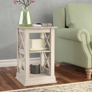 Cosgrave Solid Wood Floor Shelf End Table