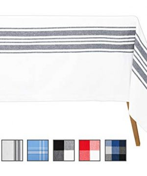 Cotton Tablecloth For Rectangle Tables Country Table Clothes Rectangular Blue Striped Tablecloth Modern Tablecloth Rectangle Fall Tablecloth 63 X 109 Country Stripes NavyCream 0 300x360