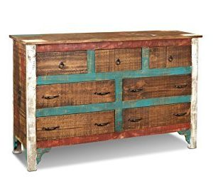 Crafters Weavers Distressed Solid Wood Painted Dresser 0 300x258