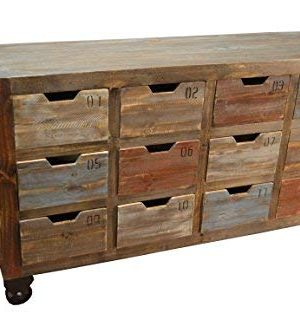 Crafters And Weavers Bayshore Industrial Rustic Solid Wood Console Chest Of Drawers Media Stand WMultiple Drawers On Wheels 0 300x333