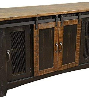 Crafters And Weavers Greenview Black 70 TV StandSideboardConsole Table With Sliding Doors 0 300x333