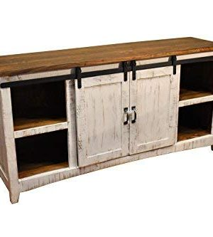 Crafters And Weavers Greenview White 67 TV StandSideboardConsole Table With Sliding Barn Doors 0 300x333