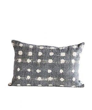 Creative Co Op Charcoal Cotton Slub Pillow With Cream Polka Dots 0 300x360