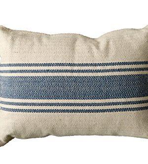 Creative Co Op DA6448 Cream Cotton Canvas Pillow With Blue Stripes 0 300x333