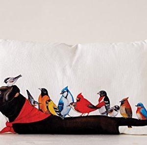 Creative Co Op Multicolor Cotton Birds On A Black Dog Pillow Cream 0 0 300x297