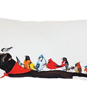 Creative Co Op Multicolor Cotton Birds On A Black Dog Pillow Cream 0 300x333