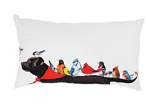 Creative Co Op Multicolor Cotton Birds On A Black Dog Pillow Cream 0