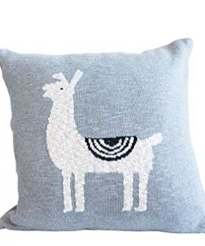 Creative Co Op Square Cotton Knit Llama Pillow 18 L X 18 H Grey 0 300x360