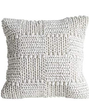 Creative Co Op Square Wool Knit Pillow In Cream 0 300x355