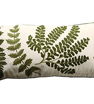 Creative Co Op White Rectangle Cotton Pillow With Embroidered Green Ferns 0 300x333