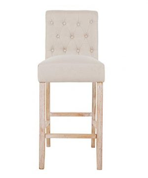 DAGONHIL 30 Inches Counter Height Bar Chairs With Button Tufted Back Solid Wood StoolsSet Of 2Tan 0 0 300x360