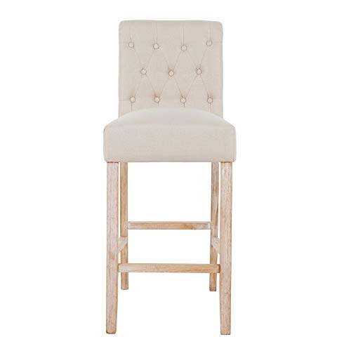 DAGONHIL 30 Inches Counter Height Bar Chairs With Button Tufted Back Solid Wood StoolsSet Of 2Tan 0 0