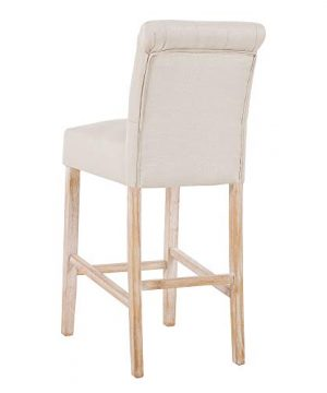 DAGONHIL 30 Inches Counter Height Bar Chairs With Button Tufted Back Solid Wood StoolsSet Of 2Tan 0 1 300x360