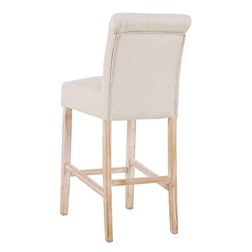 DAGONHIL 30 Inches Counter Height Bar Chairs With Button Tufted Back Solid Wood StoolsSet Of 2Tan 0 1