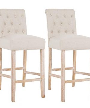 DAGONHIL 30 Inches Counter Height Bar Chairs With Button Tufted Back Solid Wood StoolsSet Of 2Tan 0 300x360