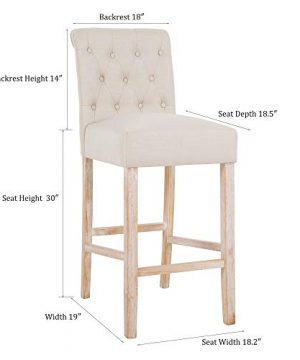 DAGONHIL 30 Inches Counter Height Bar Chairs With Button Tufted Back Solid Wood StoolsSet Of 2Tan 0 5 300x360