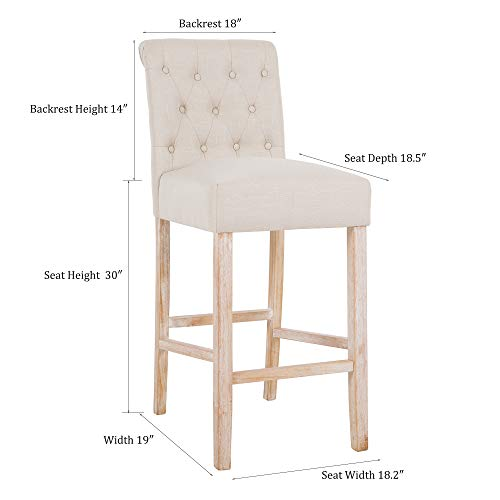 DAGONHIL 30 Inches Counter Height Bar Chairs With Button Tufted Back Solid Wood StoolsSet Of 2Tan 0 5