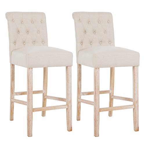 DAGONHIL 30 Inches Counter Height Bar Chairs With Button Tufted Back Solid Wood StoolsSet Of 2Tan 0