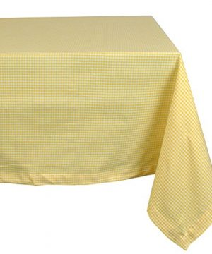 DII 100 Cotton Machine Washable Dinner Summer Picnic Tablecloth 60x120 Yellow Spring Check Seats 10 To 12 People 0 300x360