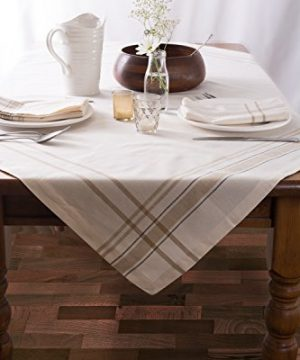 DII 100 Cotton Machine Washable Everyday French Stripe Kitchen Tablecloth For Dinner Parties Summer Outdoor Picnics 60x84 Seats 6 To 8 People 60 X 84 Chambray White 0 1 300x360